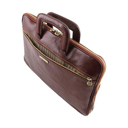 Tuscany Leather - CASERTA - Dokumenten - Tasche aus Leder Dunkelbraun - TL141324/5 Braun