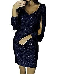 47547567148733 Kenoce Partykleid Damen Sexy Abendkleider Elegante Festliches Kleid Fransen  Langarm V-Ausschnitt Cocktailkleid für Hochzeit