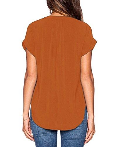 ASCHOEN Damen Casual Bluse Chiffon Shirt Oberteil Tops T-Shirt Orange