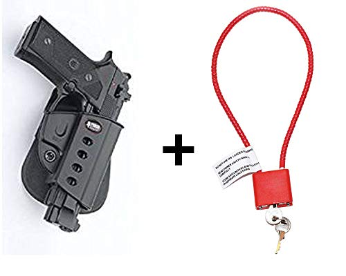 Beretta 92FS Holster & Cable Gun Lock, Fobus Tactical Retention Adjustment Paddle Holster for Beretta ertec & Elite .40cal, 92A1, 96A1, 92FS, 92FS Compact, M9A3