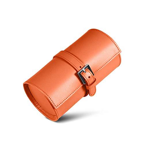 Lucrin - Porta orologi tondo - Arancione - Pelle Liscia