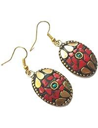 Jaipri, Tibetan Handmade Earrings For Women, Weight - 10 Grams, Length - 2 Inches