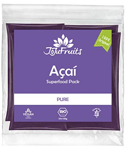 JoJu Fruits - Bio Acai Püree - PURE - 24 Smoothie Packs (Vegan, Glutenfrei, Zuckerfrei) Superfood aus Acai Beeren (Acai-beeren-smoothie)