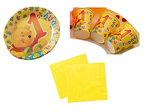 Party Deko Set 1.Geburtstag Winnie Pooh Kindergeburtstag für 20 Personen Mädchen Junge Party Geschirr (Winnie The Pooh Geburtstag Party)