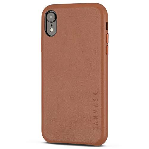 """KANVASA iPhone XR Coque Cuir Marron Skin Pochette Housse Arrière pour Apple iPhone XR / 10R (6,1"""") - Etui de de Véritable Cuir Authentique - Protection Optimale & Cuir Premium Ultra Mince"""