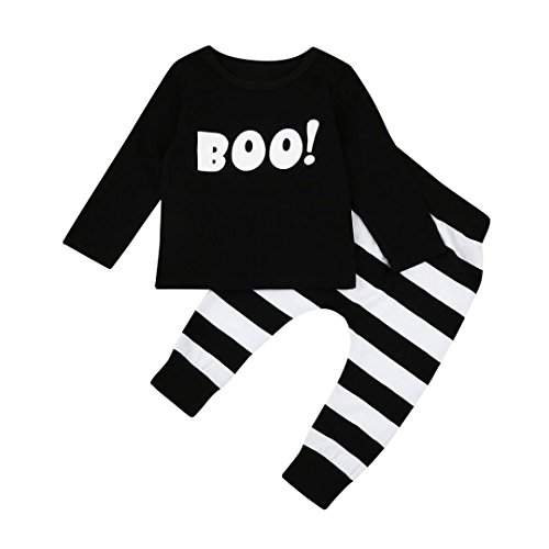 Post Kostüm Halloween (Bekleidung Longra Baby Jungen Mädchen Kleidung mit Herbst Langarm Little Teufel Bluse Top + Streifen Hosen Halloween Outfits Set (0 -24 Monate) (90CM 18Monate,)