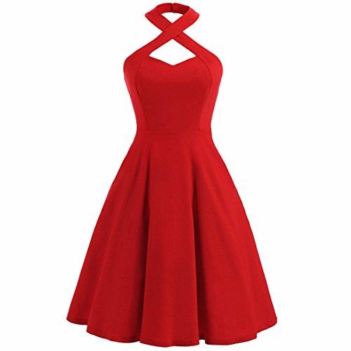 Rotes neckholder kleid