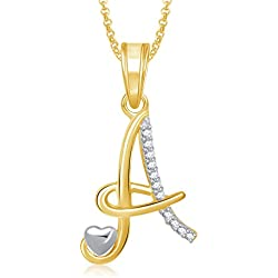 MEENAZ American Diamond 'A' Letter Pendant Locket Gold Plated Alphabet Chain Heart Pendants for Girls Men,Women Ps325