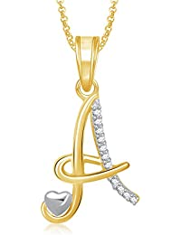 Meenaz Jewellery Gold Plated 'A' Letter Pendant For Women