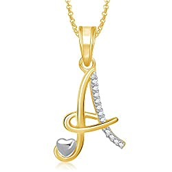 Meenaz Gold Plated 'A' Letter Pendant Locket Alphabet Heart With Chain For Men And Women Ps325