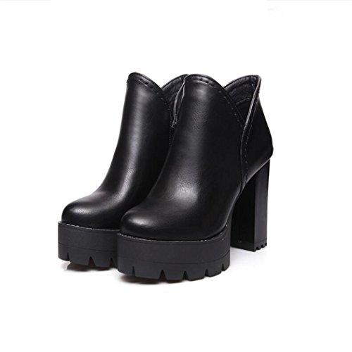 ZQ@QX In autunno e inverno a testa circolare di spessore con scarpe con i tacchi alti lato cerniera lampo e versatile, grandi stivali nude Cilindretto corto Stivali Stivali femmina black