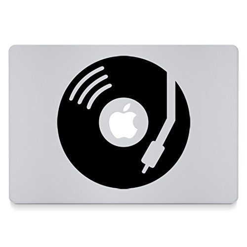 Engrave DJ Apple Vinyl Macbook Decal Black