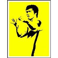 imagenation Bruce Lee 'Sillhouette amarillo'–60cm x 80cm impresión en láminas autoadhesivas papel Póster