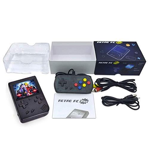 Tragbare Retro-3-Zoll-Konsole, Handheld-Konsole mit 168 Classic-Spielen, Controller für 2-Player-Modus und Kabel für TV - Classic Handheld Game Console. Schwarz - Black (Spielen 3 Controller)