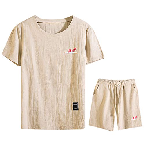 friendGG❤️Tops Hemden Outdoor Fun-T-Shirts Sport & Freizeit Herrenbekleidung Sportswear-Shirts & Hemden für Herren Sommermode Herren Baumwolle und Leinen Kurzarm Shorts Set Anzug Trainingsanzug