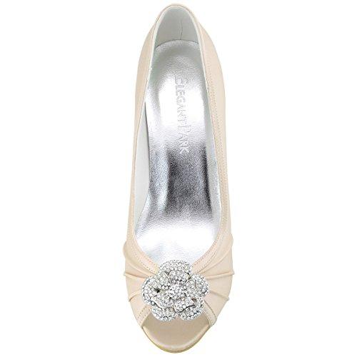 Elegantpark EP2094 Bout Ouvert Crinklinge Satin Pompes Moyen Talon Femmes Soiree Chaussures de Mariee AF01 Champagne