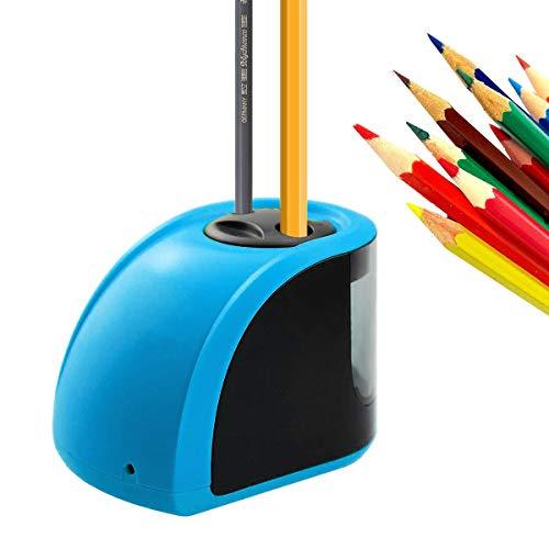 Uong - Afilador de lápices eléctrico automático con doble agujero y cuchillas de repuesto y destornillador para aula u oficina al aire libre azul