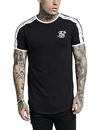 Sik Silk Hombre Camiseta de gimnasio curved hem, Negro
