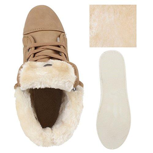 Stivali Paradise Donna Sneaker Alta Foderato Caldo Scarpe Sneakers Invernali Fibbie Pieghevoli Stinco Sintetico Pelliccia Sneakers Appartamenti Taupe Liscio Foderato