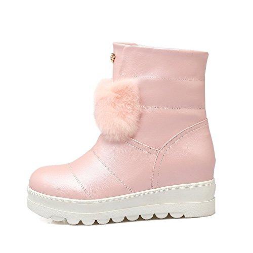 AllhqFashion Damen Mitte-Spitze Rein Mittler Absatz Pu Rund Zehe Stiefel Pink