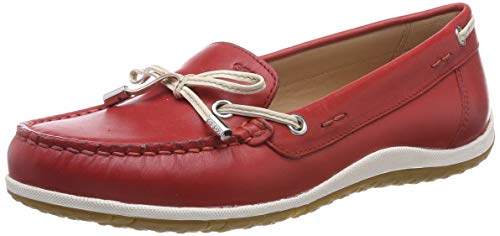 Geox Damen D Vega MOC B Mokassin, Rot (Scarlet/Off White C7y1q), 40 EU (Slipper Damen Mokassins)