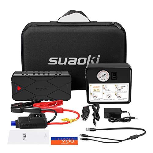 SUAOKI U18Plus Arrancador de coche 1200A, 16000mAh con Compresor aire portátil 120psi, tipo C, carga rápida USB3.0 linterna LED, hasta 7.5L de gasolina, 6.0L diesel), incluye abrazaderas inteligentes