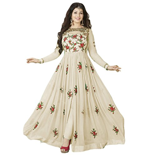 RV Creation Designer Georgette Embroidered Work Off-Wthite Anarkali Suit