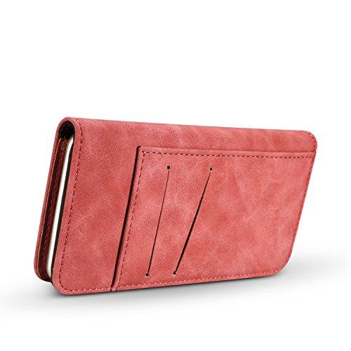 Phone Case pour Apple iPhone 74.7Étui portefeuille avec porte-cartes et magnétique Coque de protection amovible Rot