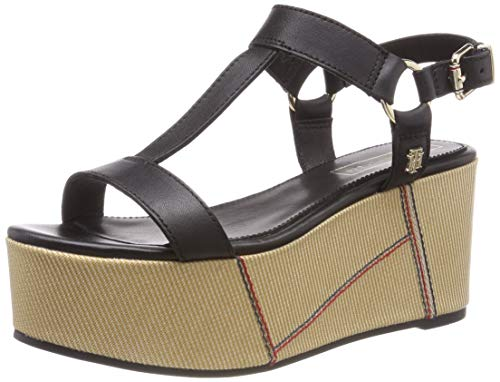 Tommy Hilfiger Elevated Leather Flatform Sandal, Plateau Donna, Nero (Black 990), 39 EU