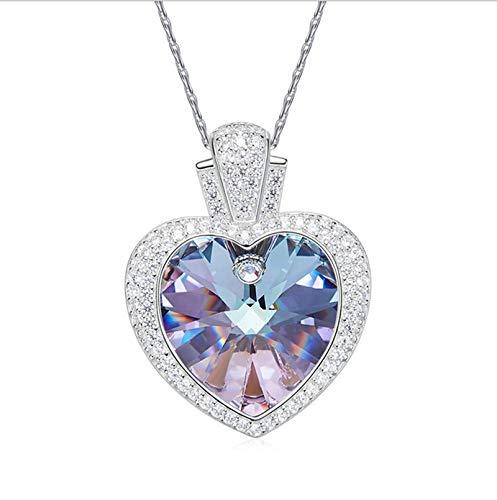 Silber Herz Halskette für Frauen Herz lila Kristall von Australian Anhänger Halsketten ()
