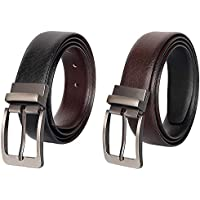 Vincent Xavier Men's Belt, Italian Leather Reversible Belt for Men Black/Brown Dress Belt Rotate Buckle Gift Box (44)