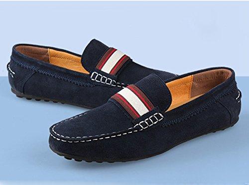 Hommes Chaussures Mocassins en Suédé avec Sangle Basse Plat Léger Respirent Semelle Antidérapant Loisir Loafers Bleu