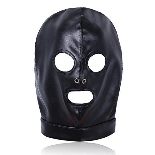 iEFiEL Kopfmaske erotik Herren Kopfmaske fetisch schwarz Wetlook SM Bondage Sexspielzeug für Paare (One Size, Schwarz (Augen und Mund Öffnung))