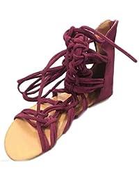 Sandalias mujer, Manadlian Sandalias altas Mujeres bohemias Zapatos casuales de verano (CN:37, Rojo)