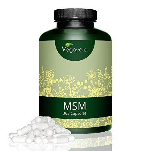 MSM Kapseln Hochdosiert Vegavero | 99,9% reines MSM | 1.200mg MSM pro Tagesdosis | 365 Kapseln – 6 Monatsvorrat | Laborgeprüft | organischer Schwefel | Vegan und OHNE Zusatzstoffe