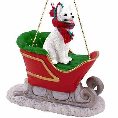 German Shepherd Sleigh Ride Christmas Ornament White - DELIGHTFUL! by Conversation Concepts -