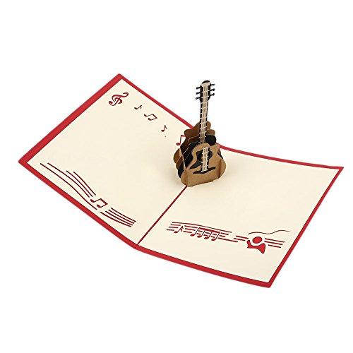 Kicode Guitar Pop Up-Karte kreative 3D Papier Valentine Geburtstag Kinder Kinder Wünsche Segen Craft Gruß Geschenke präsentiert handgemachte (Einem Karten Danken Von Kind Sie)