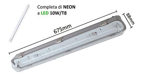 Plafoniera stagna per neon led - ip65 (1x10w) completa di neon a led