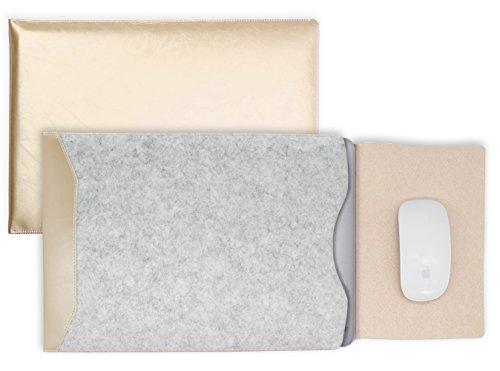 MyGadget 13-13,3 Zoll Laptop Hülle Filz & PU Leder Sleeve Slim Case Schutzhülle - Kunstleder Mauspad Tasche für u.a. Apple MacBook Air/Pro in Gold