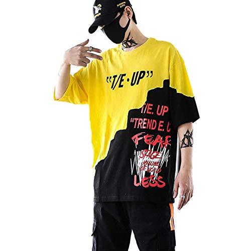 XIAOYAO Herren T-Shirt Crew Neck Smiley T-Shirt (Gelb, M)