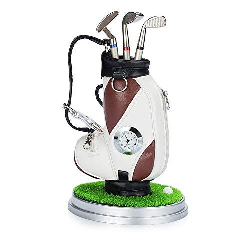 LanglebigPraktisch Halter Geschenk Mit Uhr Mini Desktop Golf Souvenir Set Briefpapier Geschenk Für Golf Enthusiasten Golf Stifthalter multifunktions Stift langlebigPraktisch -