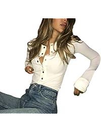 babb396e2cd5a Camisa De Manga Larga Mujer Otoño Primavera Slim Fit Tops Manga Largo Ropa  Cuello Redondo Un Solo Pecho Color Sólido Camisetas Camisas…