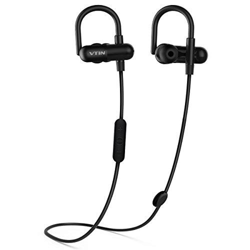Auriculares Bluetooth 4.1 Inalámbrico Deportivos VicTsing, tecnología APT-X y de Ruido de Cancelación MIC Incorporado, Sonido Estéreo de calidad superio - Negro