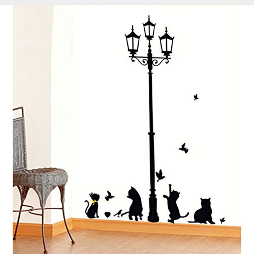Meaosy Neue Heiße Freche Katzen Vögel Und Straßenlaterne Lampe Post Wandaufkleber Dekoration Schulzimmer Kindergarten Wandaufkleber