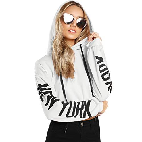 SOLY HUX Damen Kapuzenpullover Tunnelzug Langarm Pullover Muster auf den Ärmeln Weiß XS