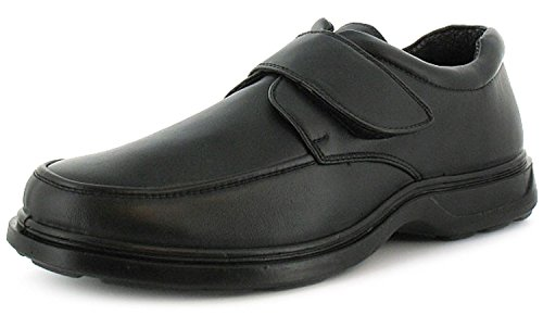 New Mens/Gents Touch Fastening Comfort Fit Shoes. Wider Fitting. - Black -...