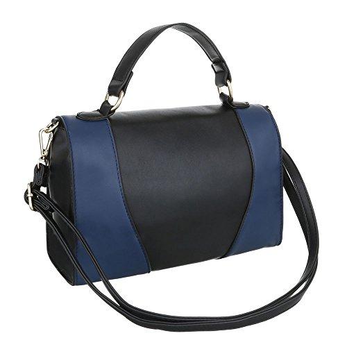 Ital-Design, Borsa a spalla donna nero/blu