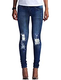 Hffan Damen Loch Hose Zerrissen Jeans Risse am Knie High Waist Jeanshose  Skinny Hüftjeans Damen Jeanshose Boyfriend Jeans Hose… 6a2527840d