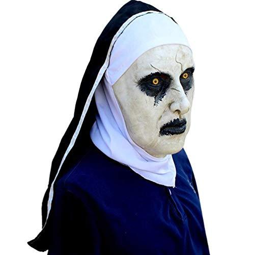 (HYXMJ Halloween Ghost Festival Horrorfilm Kalligraphie 2 Nonne Maske Angst Anwendbar Weibliche Gesicht Kopfbedeckung Maske Party)