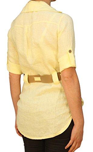 7207 Mesdames, les femmes tunique de lin chemisier avec ceinture, manches 3/4, 100% lin, blanc, rouge, rose, jaune, beige. Jaune